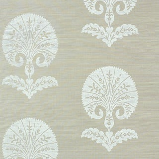 Sample - Schumacher Ottoman Flower Sisal Wallpaper in Fog For Sale