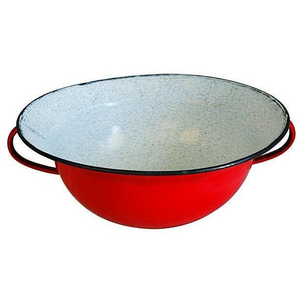 Enamel Jumbo European Two-Handled Harvest Bowl For Sale - Image 7 of 7
