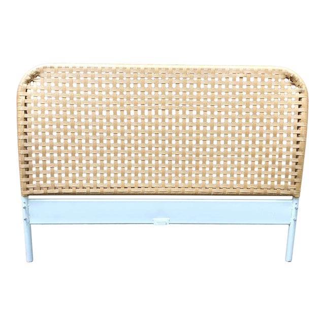 Vintage Boho Chic Full Size Woven Cane Headboard For Sale