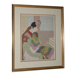 "Mid Century Woodblock Print ""Le Marie, Seoul Corée"" by Paul Jacoulet For Sale"