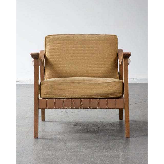 """Palimino"" lounge chair with original hand-woven upholstery on a wood frame. Designed by Greta Magnusson Grossman for..."