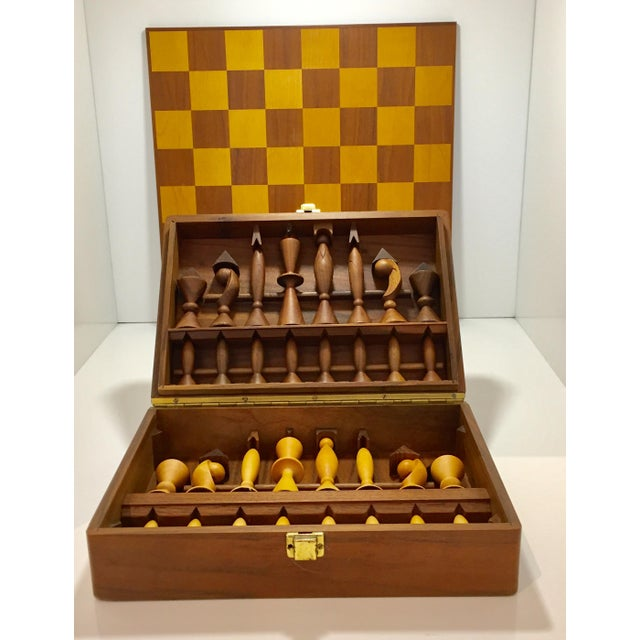 "Modernist chess set, designed by Arthur Elliot for ANRI of Italy. This is the ""Universum"" model set and retains it's..."