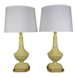 Pair of Yellow Ceramic Lamps With Gilt Bases For Sale