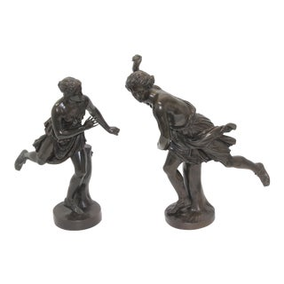 Grand Tour Late 19th Century Barbedienne Bronze Male and Female Athletes - a Set of 2 For Sale