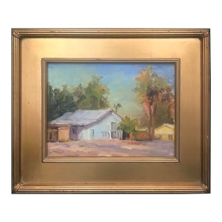 Beach Home Tropical Seaside Coastal Decor Landscape Painting by Tom Ross, Framed For Sale