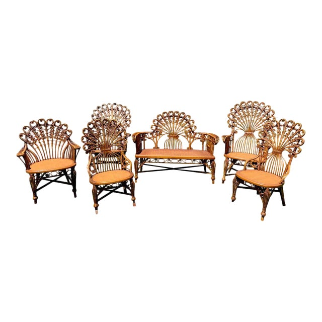 High Victorian Wicker Parlour Set - Set of 6 For Sale