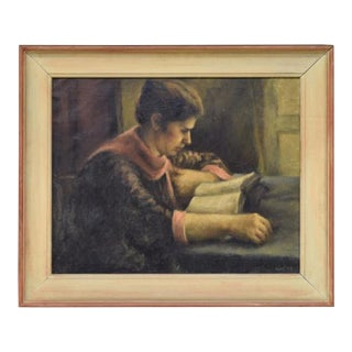 """Antique Oil Painting on Canvas """"Girl Reading"""" by Ruth Gay For Sale"""