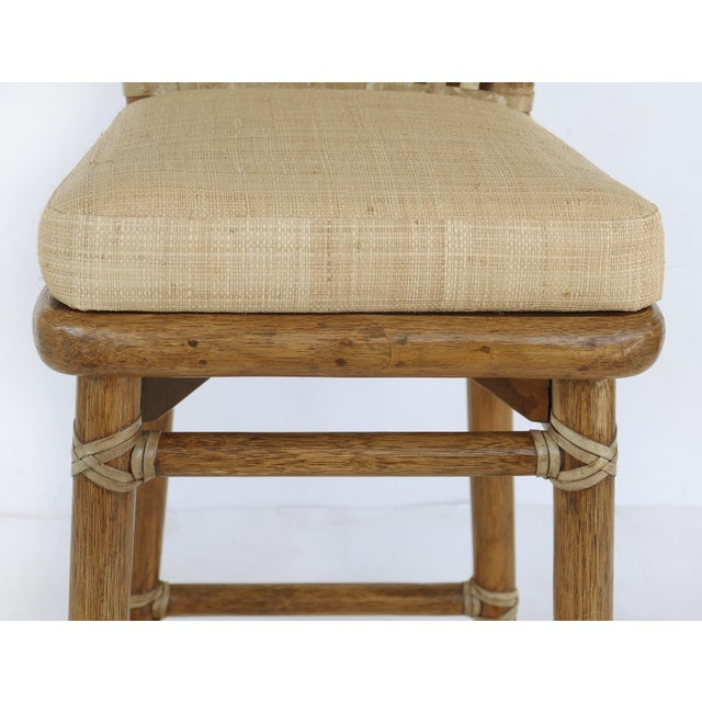 Brown McGuire San Francisco Leather Bound Counter Stools W/ Raffia Seats - A Pair For Sale - Image 8 of 13
