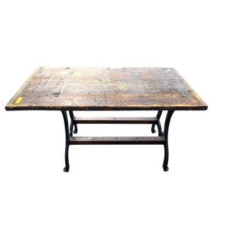 19th Century Industrial Cast Iron and Wood Writing Desk For Sale