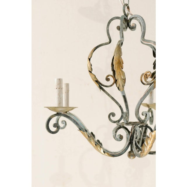 French French Five-Light Painted Iron Chandelier Featuring Lovely Acanthus Leaf Motifs For Sale - Image 3 of 8