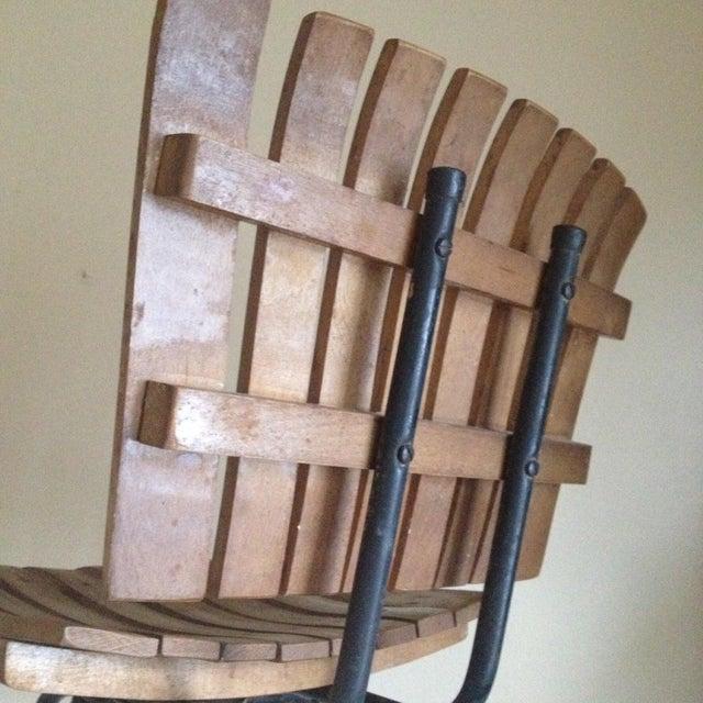 Mid Century Umanoff Style Wooden Slat Stool - Image 4 of 10