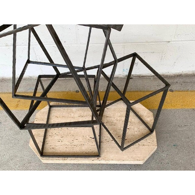 Modern Forged Iron & Travertine Quadrilaterals Sculpture For Sale - Image 4 of 11