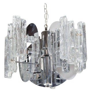 1970s Mid-Century Modern Sculptural Ice Glass Chandelier by Salviati For Sale