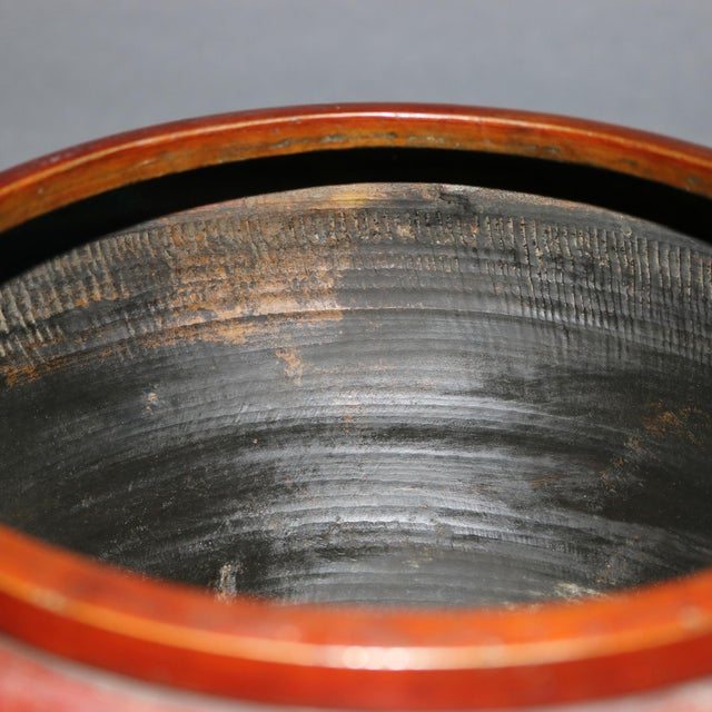 Antique Japanese Embossed Bronze Jardinière with Garden Scene, circa 1920 For Sale - Image 9 of 11
