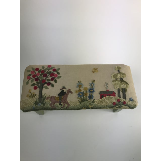 This is just the cutest handmade foot stool featuring a farm scene with a cute apple tree, a horseback rider, flower...