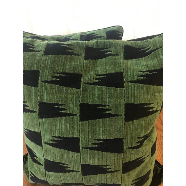 "Pair of Schumacher TUTSI pillows 24"". Welt. Hidden zipper. Black velvet on back Will ship with out inserts WHAT MAKES THIS..."