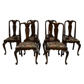 Henkel Harris Queen Anne Solid Mahogany Dining Chairs - Set of 6