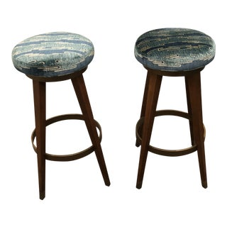 Pair of Mid-Century Modern Teal Velvet Barstools For Sale