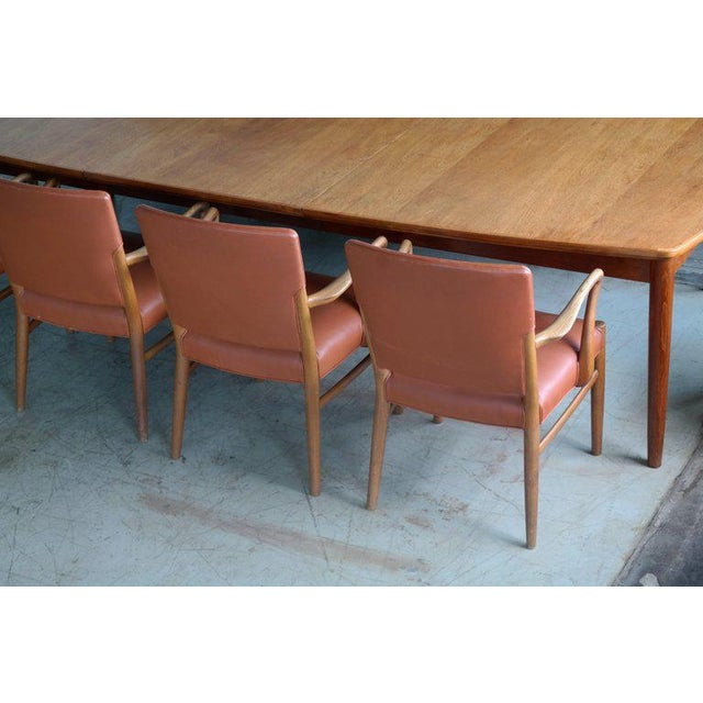 Wood Fritz Hansen Attributed Large Conference or Dining Table Set Eight Chairs For Sale - Image 7 of 12