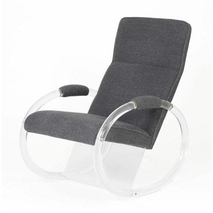 1970s 1970s Charles Hollis Jones Lucite Steel Grey Alpaca Upholstered Rocker For Sale - Image 5 of 5