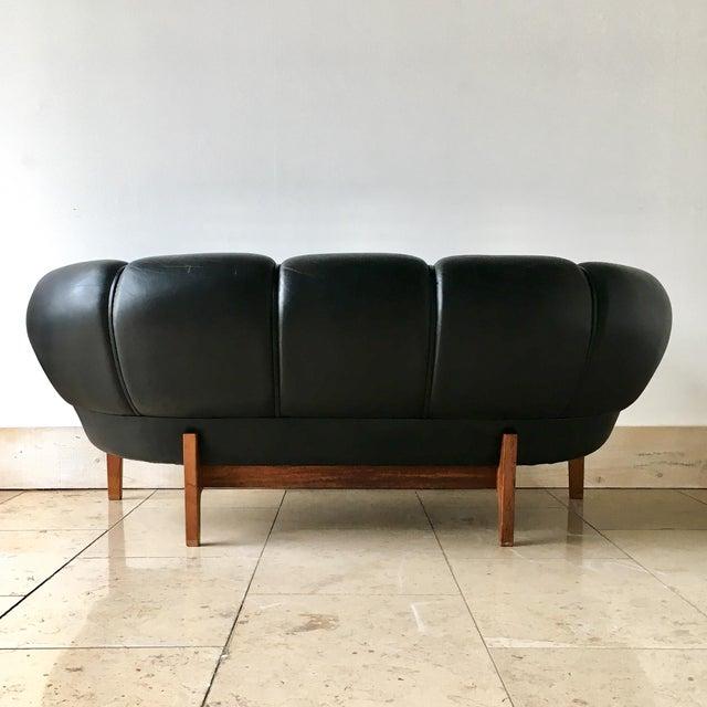 Danish Modern Black Leather Danish Sofa Designed by Illum Wikkelso 1950s For Sale - Image 3 of 7