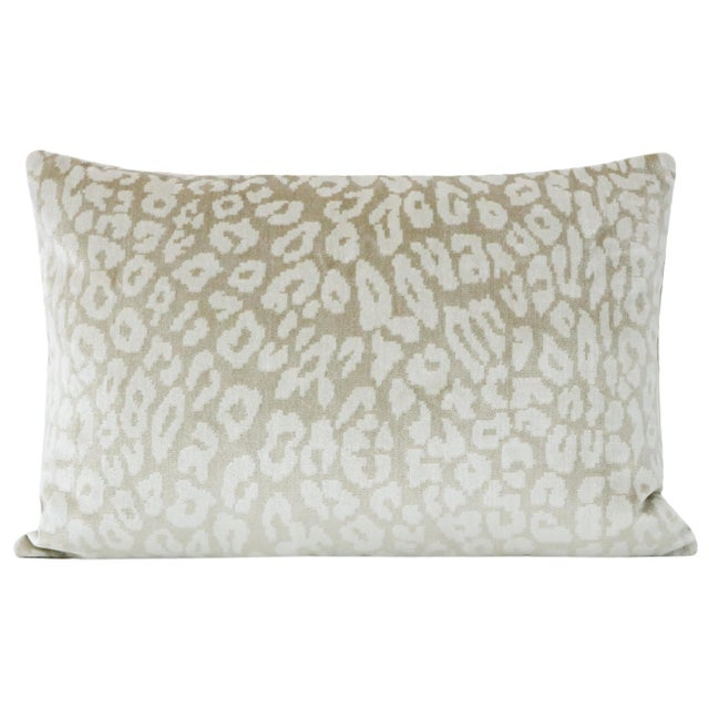 Pair of custom-made pillows in a Neutral Leopard Velvet. Meticulously handcrafted with serged interior seams, invisible...
