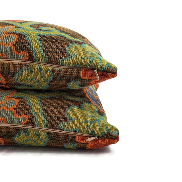 "Textile F. Schumacher Khotan Weave in the Color Sable Square Pillow Cover - 20"" X 20"" Brown, Orange, Blue, Tiger Weave Throw Cushion Case For Sale - Image 7 of 8"