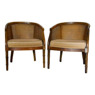 Late 20th Century Vintage Cane Back and Faux Bamboo Style Side Chairs- A Pair For Sale