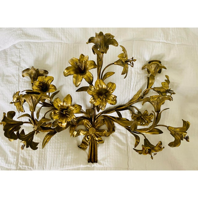 1950s Vintage Hollywood Regency Lily Brass Wall Sconce Candelabra For Sale In Saint Louis - Image 6 of 6