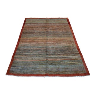 Hand-Knotted Afghan Contemporary Rug - 4′7″ × 6′4″ For Sale