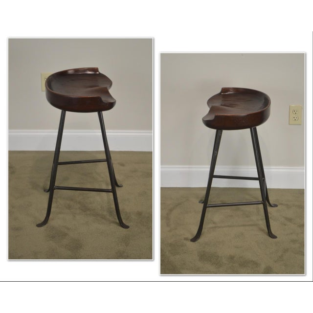 *STORE ITEM #: 19050 Custom Quality Solid Wood Seat Pair of Iron Backless Bar Stools AGE / ORIGIN: Approx. 25 years,...