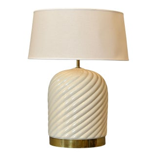 Mid-Century Modern Ceramic & Brass Table Lamp by Tommaso Barbi, Italy For Sale