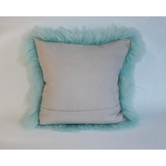 Boho Chic Caribbean Blue Curly Lamb Pillow For Sale - Image 3 of 5