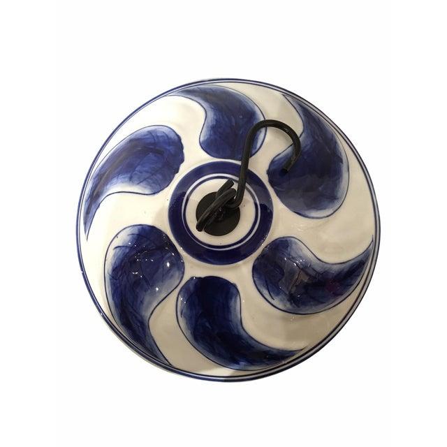 2000 - 2009 Contemporary Cobalt Blue Porcelain Bird Feeder For Sale - Image 5 of 6