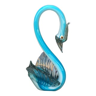 1990s Italian Sky Blue Murano Swan For Sale