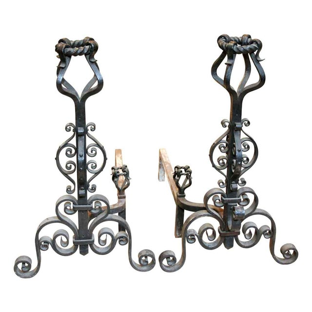 Heavy Wrought Iron Andirons - A Pair - Image 7 of 7