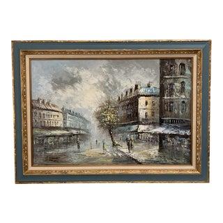 Early 20th Century Antique Caroline Burnett Paris Street Scene Palette Knife Oil Painting For Sale