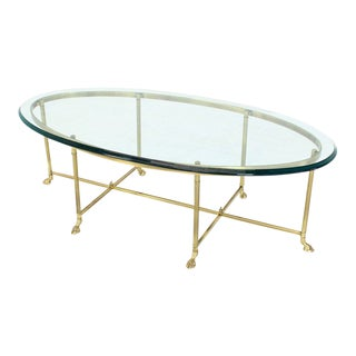 Brass Oval Hoof Feet Coffee Table Thick Bevelled Glass For Sale