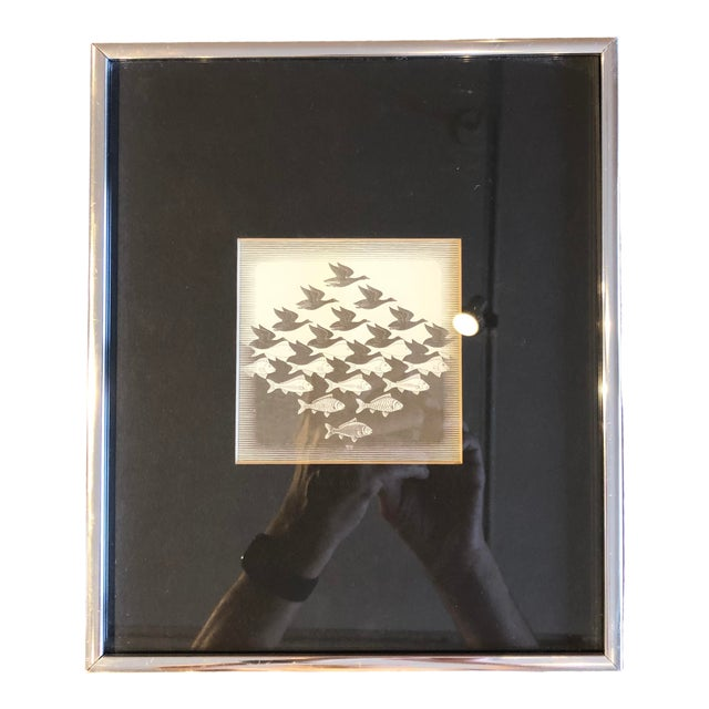 20th Century Surrealist Framed M. C. Escher Sky and Water Print For Sale