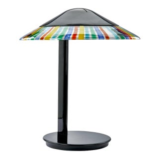 Italian Mid-Century Modern Desk Lamp by Itre - Black With Multi-Colored Murano Glass Skirt on Shade For Sale