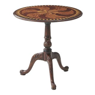 Theodore Alexander Round Inlaid Carved Mahogany Pedestal Table