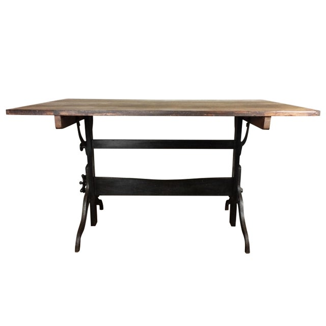 Large Antique Cast Iron & Wood Drafting Table, 1910s - 1920s - Image 4 of 5