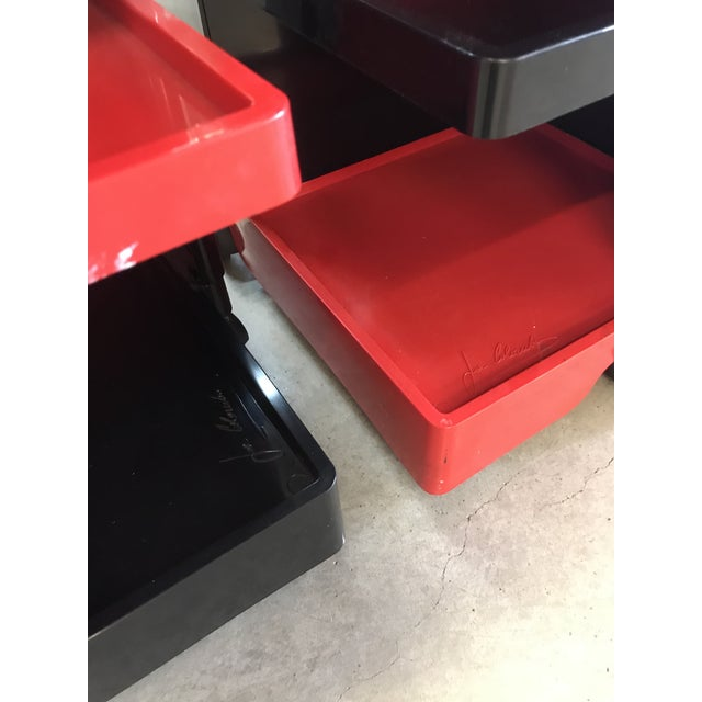 Black and Red Original Vintage Joe Colombo Boby Trolley Carts -A Pair For Sale - Image 10 of 13