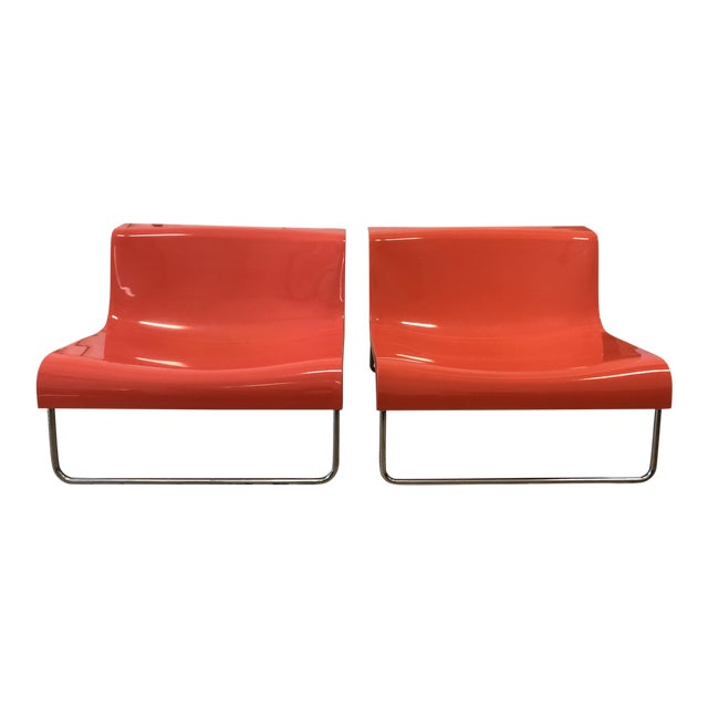Kartell Piero Lissoni Orange Form Lounge Chairs - a Pair For Sale