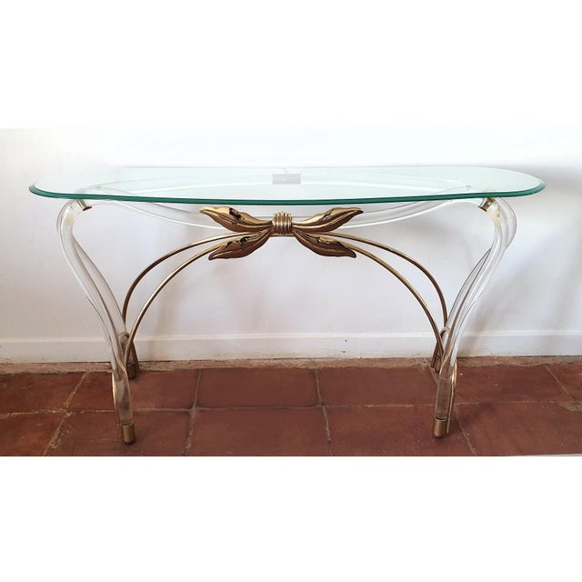 Art Nouveau Large Mid-Century Modern Organic Glass Brass & Lucite Console Table, Spain 1970s For Sale - Image 3 of 13