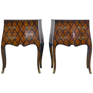 Early 20th Century Italian Louis Xv Style Lattice Parquetry Bombe Commodes, Pair