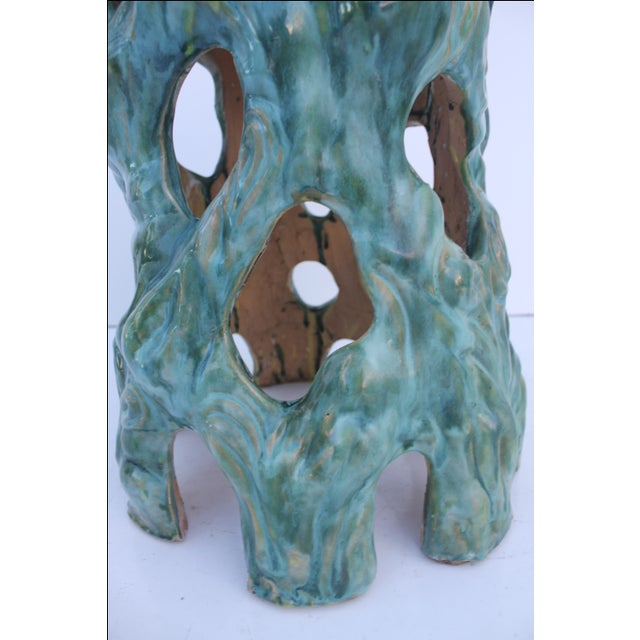 Vintage Textural Turquoise Garden Stool - Image 5 of 8