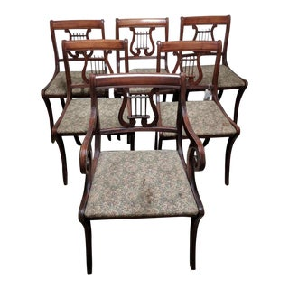 1940s Americana Lyre Dining Chairs - Set of 6