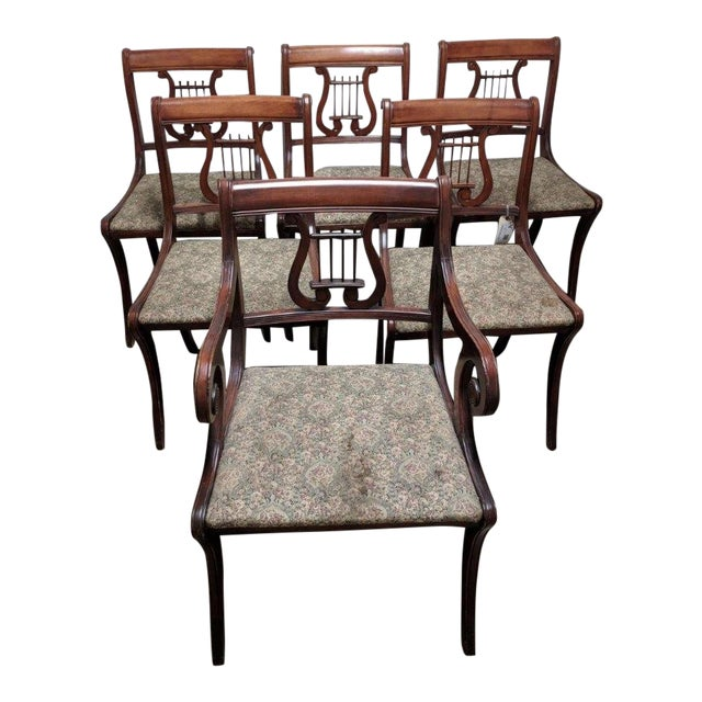 1940s Americana Lyre Dining Chairs - Set of 6 For Sale