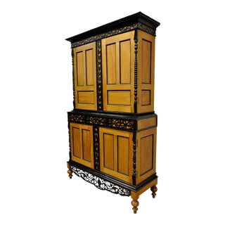 Indo Dutch Portuguese Colonial Style Satinwood Ebony Mahogany Cupboard Cabinet For Sale